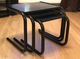 Black side tables, nest of 3.
