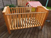 Babystyle Cot bed, roller drawer, mattress. Very good condition