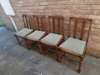 SET OF FOUR VINTAGE HEAVY SOLID CARVED OAK CHAIRS 33.5 HEIGHT X 17.5 X 16 VGC SHABBY CHIC PROJECT