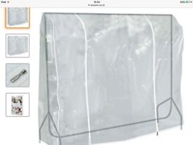 Almost new Heavy duty clothes rail 6ft X 5ft with clothes cover and hanging shelf