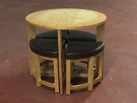 Table and 4 chairs/stools- £150-£200 new, top could use a sand/varnish- Free Delivery!