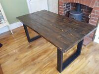 New Handmade Farmhouse Reclaimed Dining Table 160cm x 88cm available every size Rustic Black