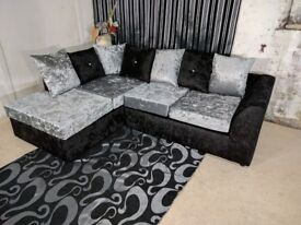 GUARANTEED CHEAPEST PRICE !! DYLAN CRUSHED VELVET CORNER OR 3+2 SEATER SOFA