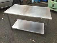 Stainless Steel Table with Shelf and Small Draw (Width:116 Length:62 Height:71)