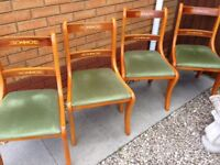 4 Yew wood dining chairs