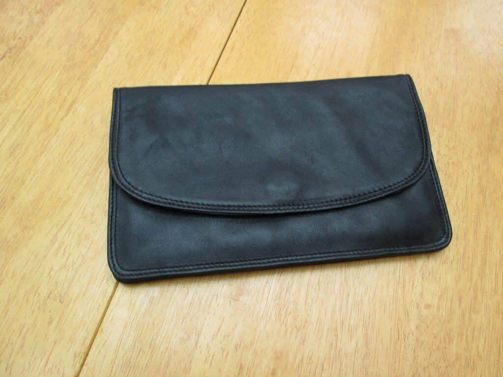 TULA BLACK SOFT LEATHER CLUTCH BAG