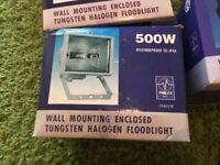 Outside 500w halogen flood light heads waterproof with wall mounts brand new boxed PIR sensors