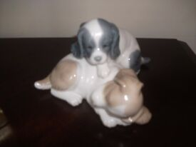 Nao By Lladro Wake Up Spaniel Resting Puppies Porcelain