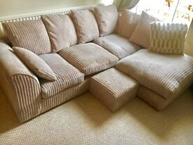 Corner Sofa for Sale Stone Colour with footstool