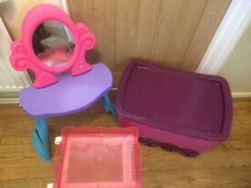 Pink toy box on wheels vanity mirror and trolly