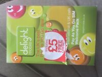 Delight SIM cards for sale with £5 preloaded free credit only 50p