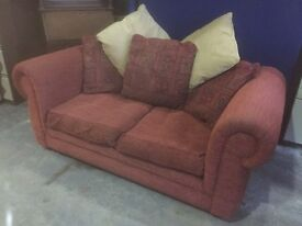 2 Seater Sofa - Large - Dark Red - Loose Cushions - Deep Comfy Seat - 195cm Wide