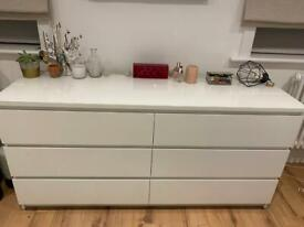IKEA malm chest of drawers 160cm with glass top
