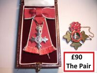 Miniature SILVER M.B.E Medal + British Empire SILVER & Enamel Brooch/Pendant - See Ad For Details