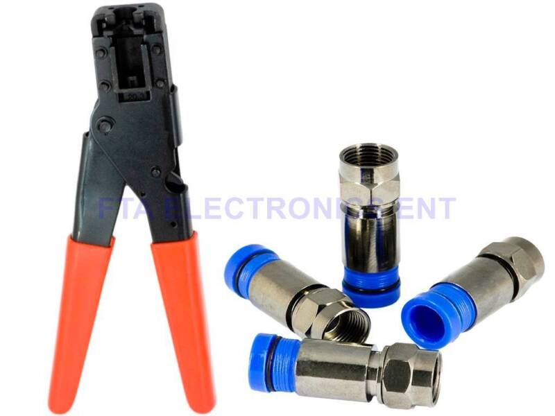Compression Crimper Tool for RG6 RG59 TV Connectors Plugs and Coax Cable TV Wire