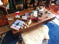 Natuzzi designer coffee table in walnut and glass