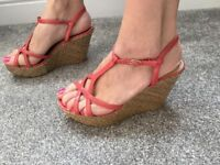 New Look coral wedge sandals summer shoes