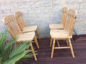 4 solid Pine dining Room Chairs