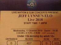 JEFF LYNNE'S ELO 2 TICKETS LONDON O2 WEDNESDAY 17 OCTOBER BLOCK 407 ROW B