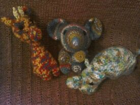 Hand crocheted soft toys set of 3 in new condition