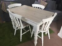 Shabby Chic Dining table & 4 chairs with seat cushions