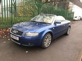 2004 AUDI A4 1.8 Turbo. CABRIOLET CONVERTIBLE. FULLY ELECTRIC ROOF. HEATED LEATHERS. 18' ALLOYS