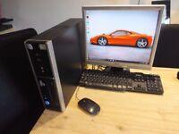 "Wireless Intel Core 2 Duo windows 10 computer, 17"" flat screen monitor, key, mouse"