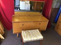 VINTAGE DRESSING TABLE WITH 4 DRAWS, MIRROR AND STOOL,CAN DELIVER