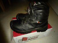 New U power steel toe cap boots