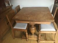 Antique solid oak draw leaf extendable Farmhouse dining table, with 4 chairs