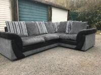 Black and grey corner Sofa 7 ft by 5 can deliver local for £20 viewing welcome in Bulwell Nottingham