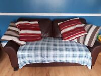 Leather 3 seater sofa and 2 chairs. Always had throws on. Excellent condition!! £300 ono.