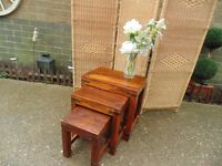 SHESHAM JALI WOOD NEST OF TABLES VERY HEAVY SET IN EXCELLENT CONDITION 45/31/45 cm £45