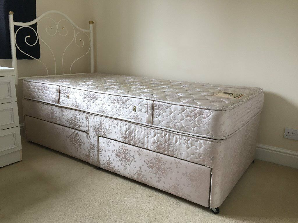 Slumberland single divan bed mattress and white metal for Single divan beds with mattress and headboard