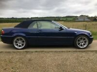 BMW 3 SERIES BLUE CONVERTIBLE 325CI CABRIOLET FULL BEIGE LEATHER E46 LOW MILEAGE