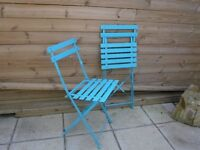 blue metal garden furniture