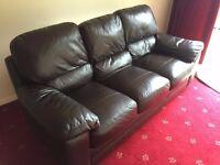 Three Piece Brown Leather Sofa
