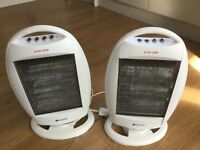 "ELECTRIC HALOGEN HEATERS X 2. ""Easylife"" Oscillating. 3 heat settings to 1200 watts"