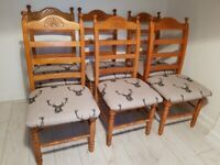 SET of 6 sturdy wooden highland stag DINING CHAIRS. Rustic shabby chic FREE safe LOCAL Delivery