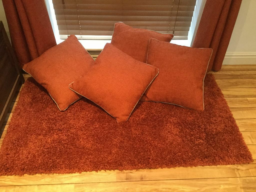 Next Orange Rust Curtains Cushions Amp Rug Set In
