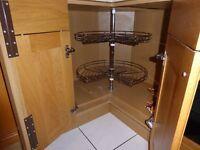 KITCHEN CABINET 270 DEGREE 3/4 CORNER CAROUSEL ADJUSTABLE 600mm DIA CHROME WIRE