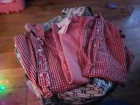 3 red check school dresses