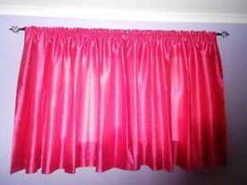 Pair of bright pink, lined Polyester curtains - 90ins wide x 56ins drop