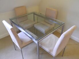 Stylish Glass Dining Table with 4 Cream Suede Chairs