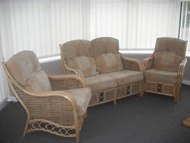 Conservatory Set Cane Two Chairs Plus Settee Plus small table