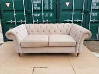 EX DISPLAY Next Gosford Buttoned Chesterfield Beige Sofa DELIVERY AVAILABLE