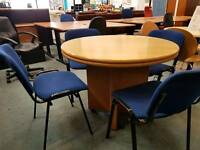 Wooden round meeting table and 4 chair set