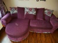 Purple Sofa and Armchair