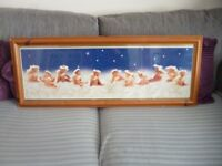 Anne Geddes babies cherubs framed picture, solid pine frame, £5