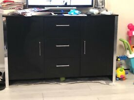 Black sideboard with silver trim
